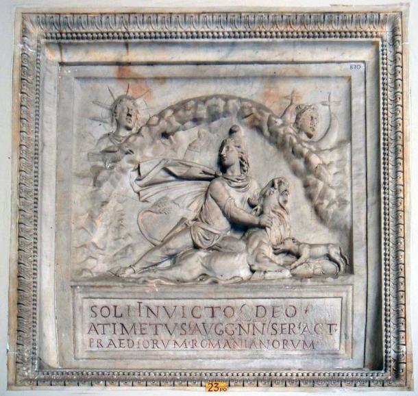 Relief depicting Roman Mithras, described as sol invictus (the unconquered sun god).