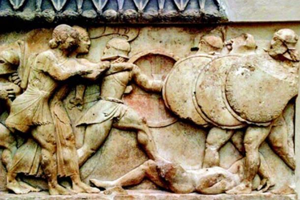 Alivio que representa la batalla de Maratón.