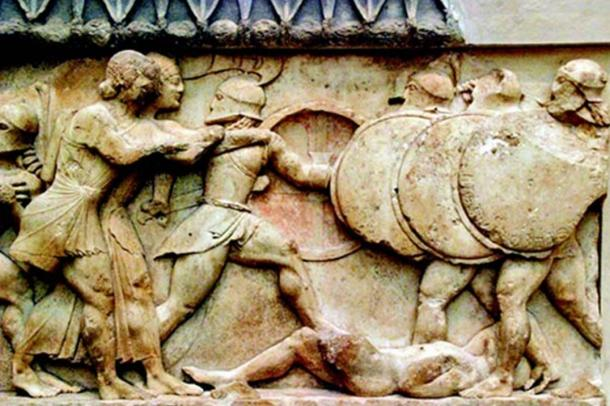 Relief depicting the Battle of Marathon.