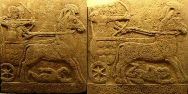 Relief in basalt depicting a battle chariot, Carchemish, 9th century BC; Late Hittite style with Assyrian influence. Did such vehicles leave the tracks in the ancient Phrygia Valley?