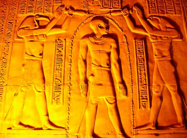 Relief of Thoth and Horus blessing the pharaoh at Temple of Kom Ombo
