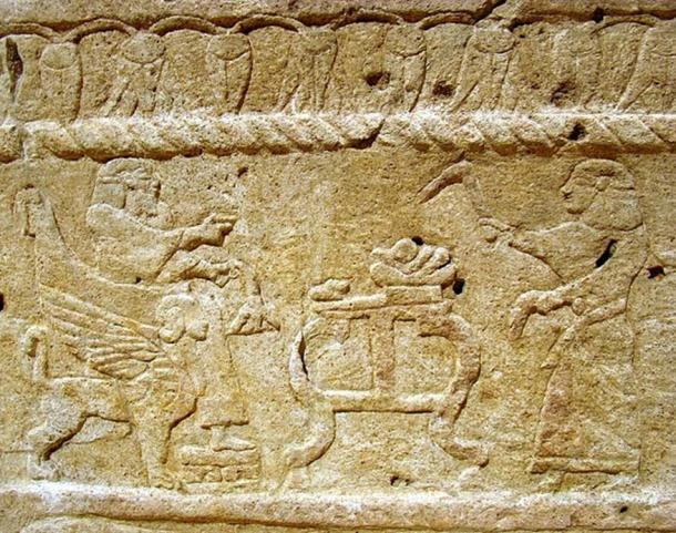 Relief on Sarcophagus of Ahiram, King of Byblos