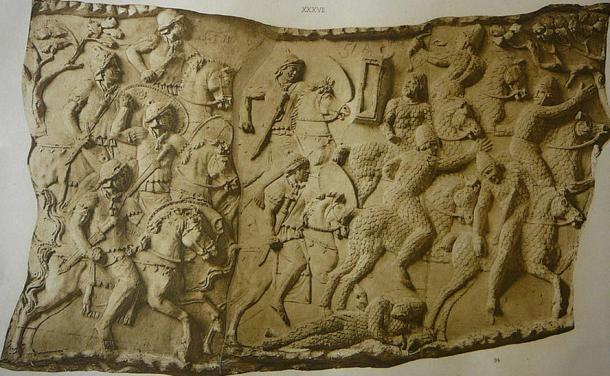 Relief sculpture on Trajan's Column in Rome (Italy) depicting a cavalry battle against the Sarmatians