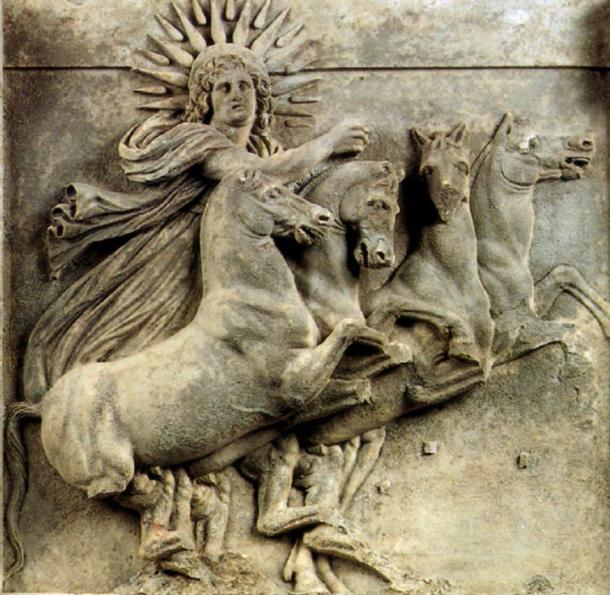 Relief showing Helios, sun god in the Greco-Roman mythology. From the North-West pediment of the temple of Athena in Ilion (Troy). Between the first quarter of the 3rd century BC and 390 BC. Marble. Found during the excavations lead by Heinrich Schliemann in 1872, now in the Pergamon-Museum in Berlin, Germany. (Public Domain)