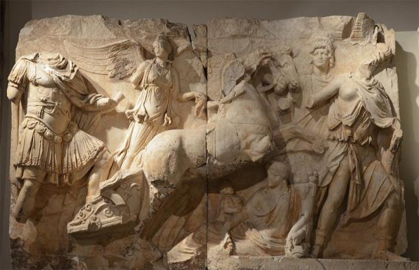 Relief frieze of the Parthian monument depicting the apotheosis of Lucius Verus. Lucius Verus is represented on Helios' chariot being driven by Nike (Victory) who leads him by the hand. (Carole Raddato / CC BY-SA 2.0)