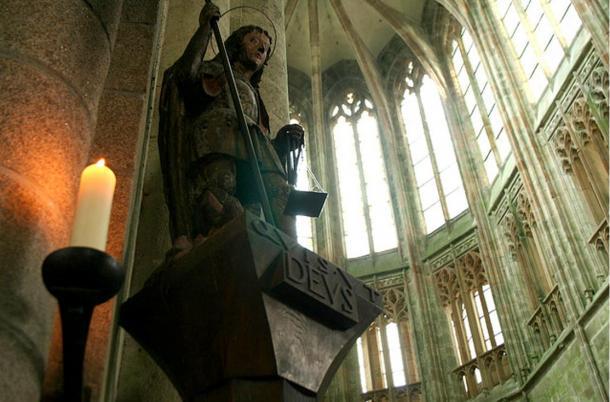 Religious sculpture in Mont St-Michel.