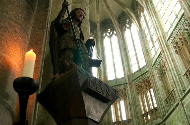Religious sculpture in Mont St-Michel.