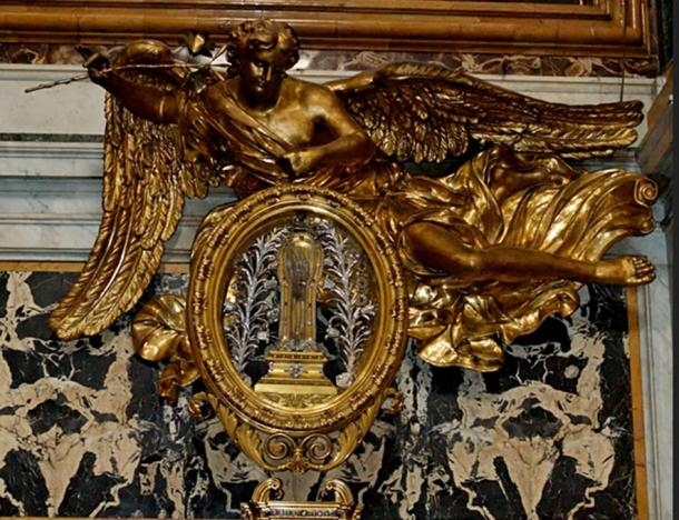 Reliquary with the relic of St. Francis Xavier, at its usual home at the Church of the Gesù, Rome, Italy.