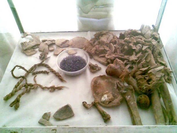 Remains of Saltman 3, one of the Saltmen found in 2004, on display in Zanjan.