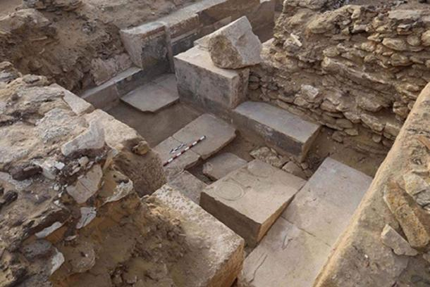 Remains of a chapel found by ancient Egyptian nobleman Khuwy's tomb had been heavily robbed by ancient stone robbers. (Egyptian Ministry of Antiquities)