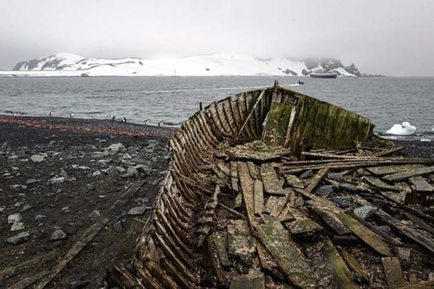 Remains of a ship on Half Moon Island, Antarctica. (Christopher Michel/CC BY 2.0) Journey to remote Antarctica aboard the Sea Adventurer.
