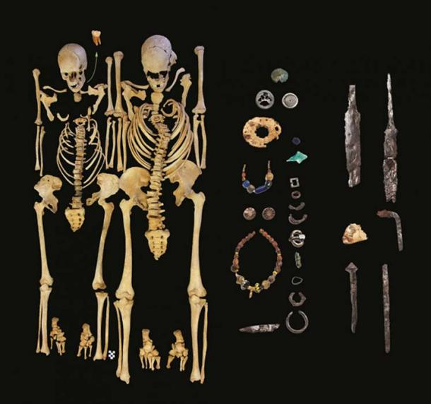 Remains of a woman, left, and man, right, excavated at Altenerding and found positive for presence of Y. pestis