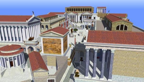 Rendering of the Roman Forum as it may have appeared during the Late Empire. (Angerdan / CC BY-SA 3.0)