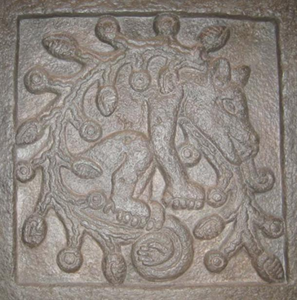 Replica cast of a stone plaque representing Ahuizotl, in a temple in Tepoztlan, near Mexico City. (Public Domain)