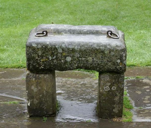 Replica of the Stone of Scone at the original location at Scone Palace, Scotland.