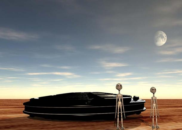 Representation of a UFO and aliens in a desert.