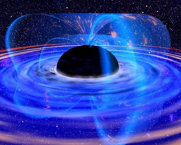 Representation of a black hole accretion disk.
