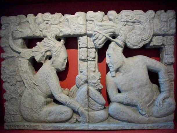 Representation, though not from Loltun, of Ixchel (left) and Itzamna (right) on the sacred mountain before the creation of the world. Museo Amparo, Puebla