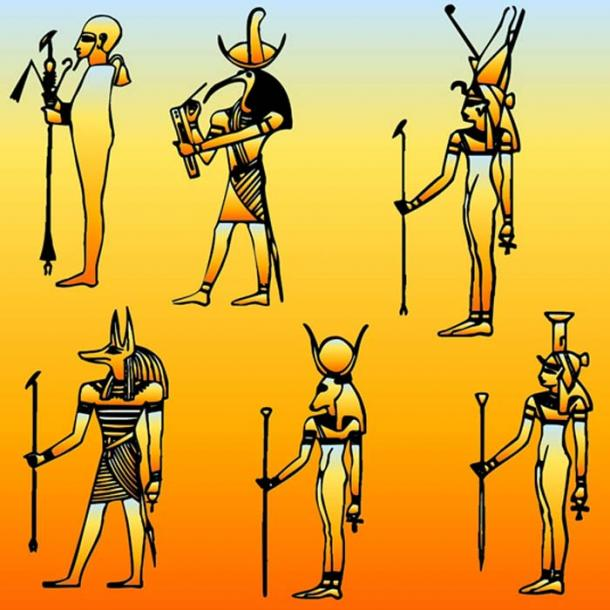 Representations of six gods from the Ancient Egyptian Pantheon