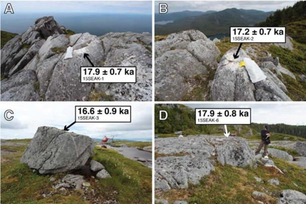 Representative boulder and bedrock samples were collected for dating. (Alia J. Lesnek et al, Science Advances)