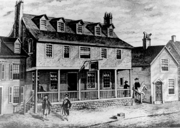 Representative image of an old tavern. This is a sketch of Tun Tavern in the Revolutionary War. (Public Domain)