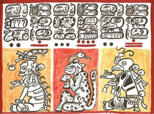 Reproduction of a detail of the Codex Dresdensis (13th century) showing Mayan hieroglyphics