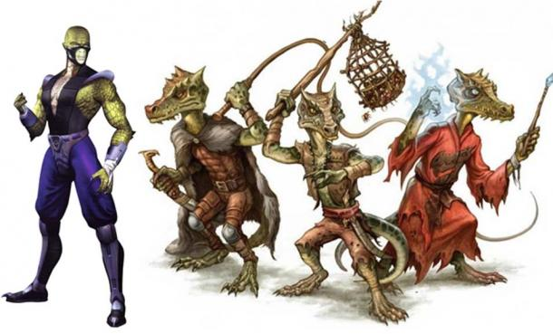 Left: Reptile as he appears in Mortal Kombat 4. (Fair Use) Right: Reptilian humanoids known as Kobolds. (CC BY NC SA)