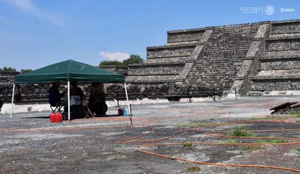 Researchers placed electrodes in the ground by the ancient temple so they could map the electrical current throughout the soil.