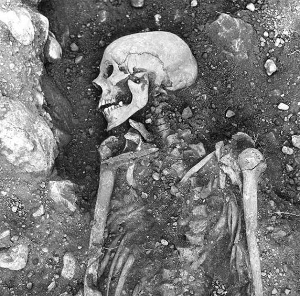 Researchers isolated viral DNA from human teeth and bones, such as this 1,200-year-old smallpox-infected Viking skeleton discovered in Öland, Sweden. (The Swedish National Heritage Board / Science News)