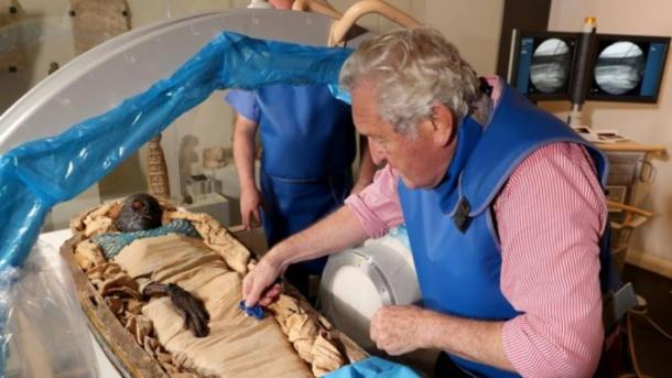 Researchers taking samples for tests from Ireland's Egyptian mummy Takabuti. (Ulster Museum, Belfast)