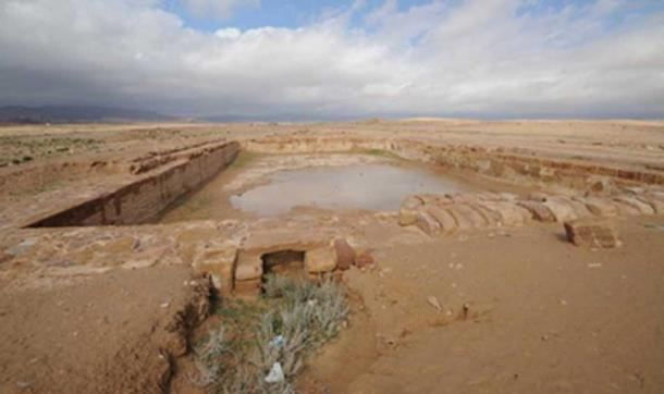 "Reservoir at Nabataean city of ancient Hawara, modern Humayma or ""Humeima""."