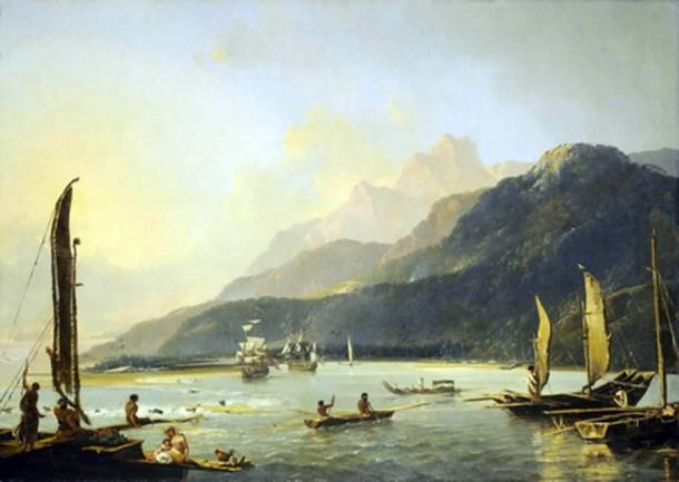 Resolution and Adventure with fishing craft in Matavai Bay, painted by William Hodges in 1776, shows the two ships of Commander James Cook's second voyage of exploration in the Pacific at anchor in Tahiti. (Public Domain)