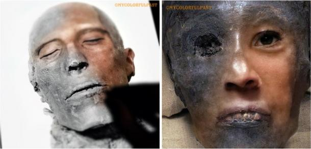 Left: Restoration and color work in progress to the 3,307-year-old mummified face of pharaoh Menmaatre Seti I. Right: Close up of bringing to life the 3,345-year-old face of Tutahkhamun. (Courtesy of Matt Loughrey / My Colorful Past)