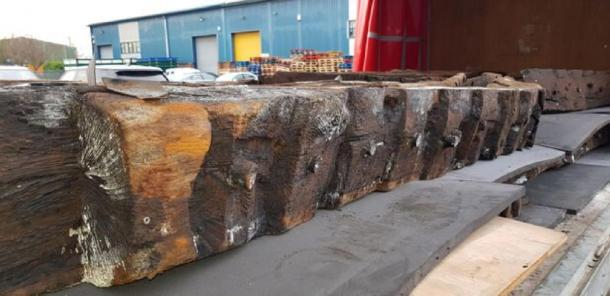 Restored timber plank from the Newport Medieval Ship. (Friends of the Newport Ship)