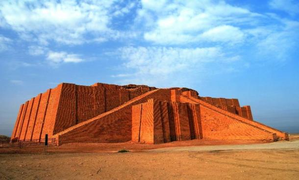 Restored ziggurat in ancient Ur, Sumerian temple in Iraq