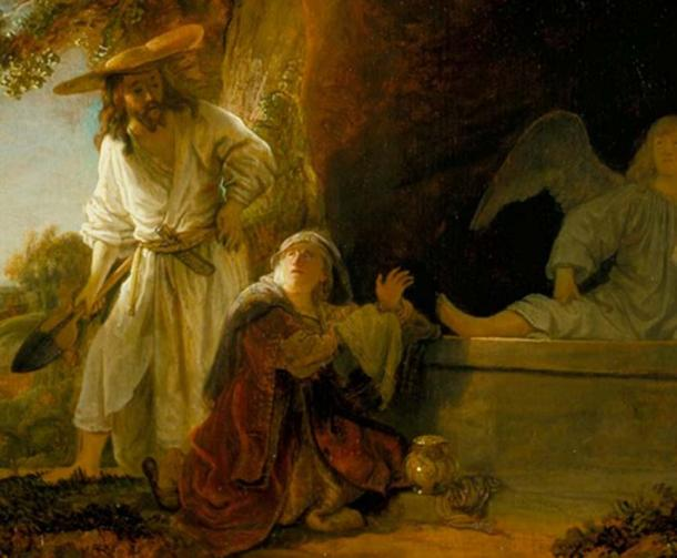The Resurrected Christ and Mary Magdalene at the Tomb by Rembrandt. Beside Mary we see her famed alabaster jar.