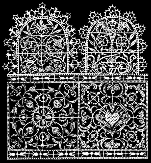 Design for Reticella lace or point couppe by Federico de Vinciolo from Les Singuliers et Nouveaux Pourtaicts.
