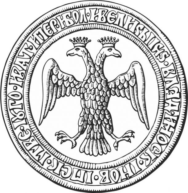 Reverse of Ivan III's seal in 1472, after his marriage with Sophia Palaiologina (Public domain)