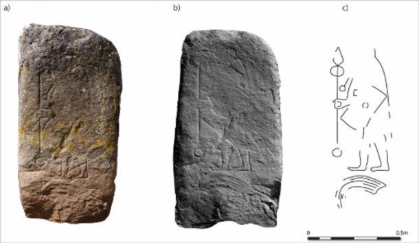 Rhynie stone (3): a) flash photography (© Michael Sharpe); b) hillshade model; c) interpretation.  (University of Aberdeen)