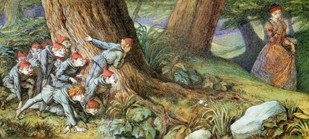"""Richard Doyle (1824-1883), """"Wood Elves Hiding and Watching a Lady"""", c. 1840 – 80."""