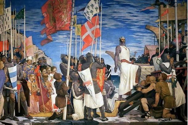 Richard I Leaving England for the Crusades.