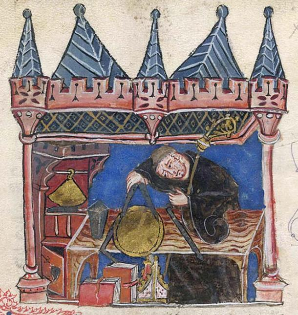 Astrologer-astronomer Richard of Wallingford is shown measuring an equatorium with a pair of compasses in this 14th-century work.