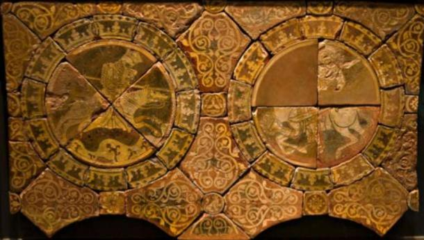 Tiles of Richard the Lionheart, left, and Saladin, right