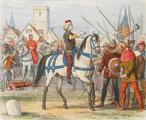 Richard II exerts control over the rebel mob during the Peasants' Revolt. Public domain