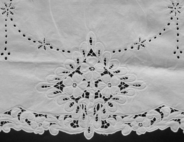 Richelieu cutwork, a form of white work embroidery