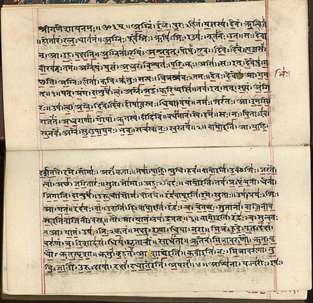 Rigveda in Sanskrit, India early 19th century. (Public Domain) Sanskrit is a standardized dialect of Old Indo-Aryan.