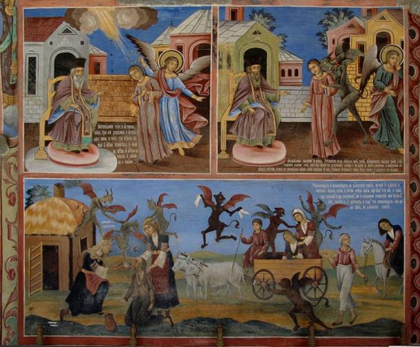 A painting in the Rila Monastery in Bulgaria, condemning witchcraft and traditional folk magic.