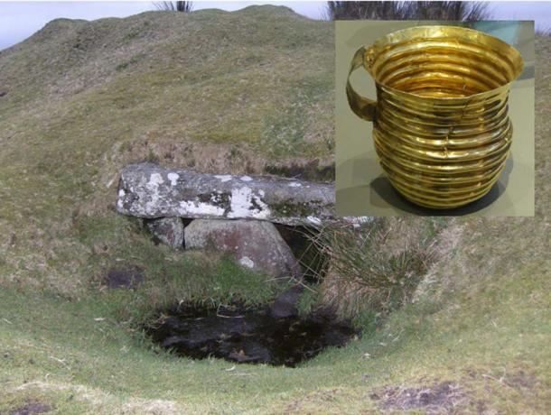 Main: Rillaton Barrow, an ancient burial mound on Bodmin Moor. Inset: The gold cup found inside.
