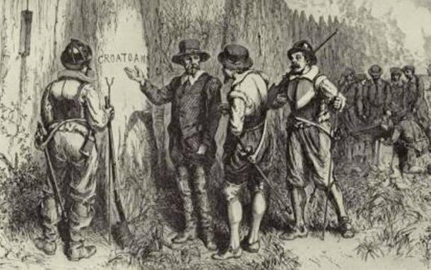"John White discovers the word ""CROATOAN"" carved at Roanoke's fort palisade."