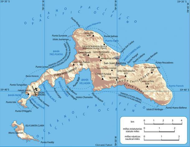Robinson Crusoe Island, Archipelago Juan Fernández, Chile, where Selkirk lived as a castaway.